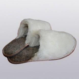 Тапочки домашние меховые из овечьей шерсти на войлоке с резиновой подошвой