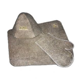Банный набор (коврик, шапочка, варежка) из грубого Верблюжьего войлока